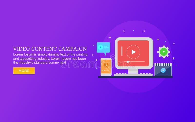 Wideo kampania marketingowa, treści cyfrowe pokazuje na komputerze, urządzenie przenośne ilustracji
