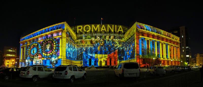 Wideo kartografuje na fasadzie ministerstwo sprawy wewnętrzne - światło reflektorów festiwal 2018, Bucharest, Rumunia obraz stock