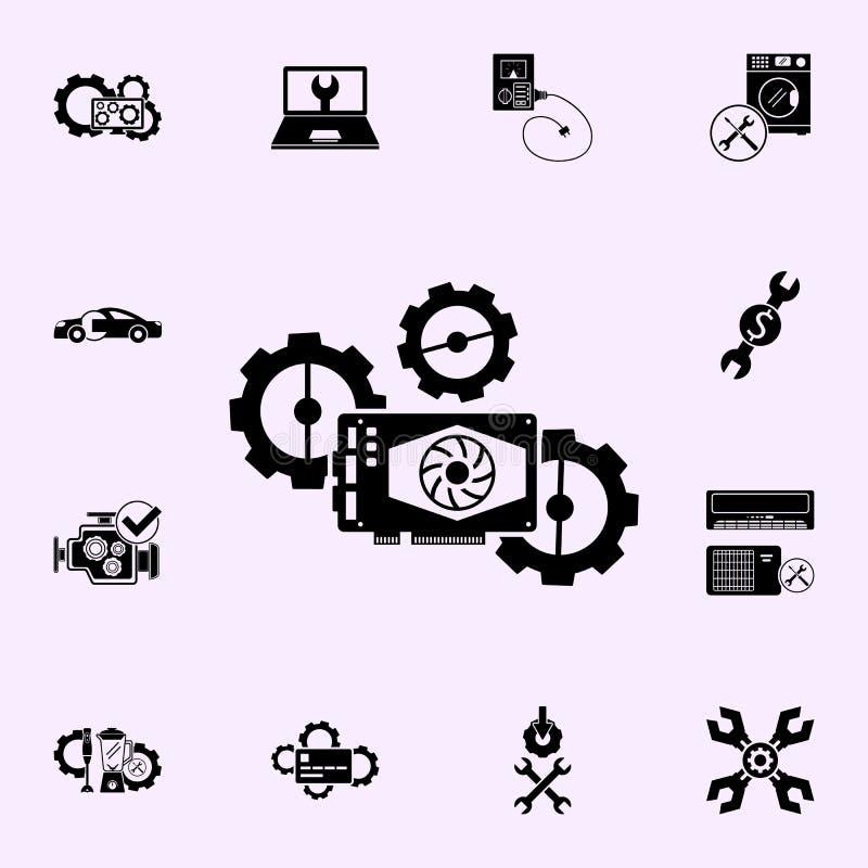 Wideo karty naprawa, przek?adni ikona Remontowy ikony og?lnoludzki ustawiaj?cy dla sieci i wisz?cej ozdoby ilustracji