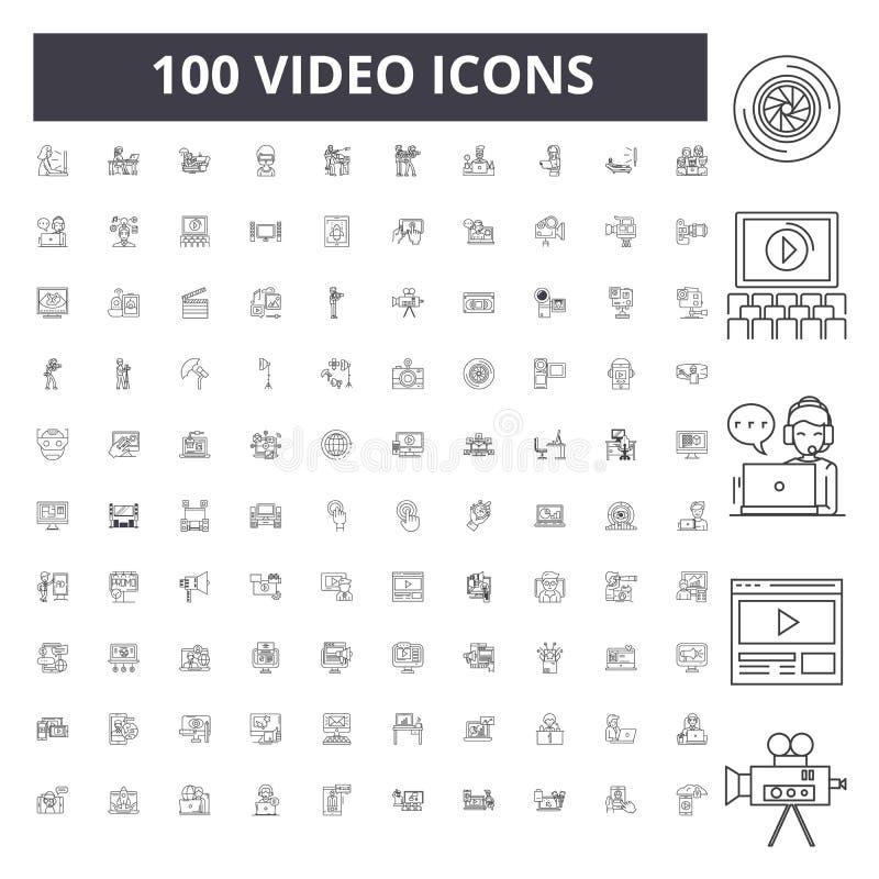 Wideo kreskowe ikony, znaki, wektoru set, kontur ilustracji pojęcie zdjęcia royalty free