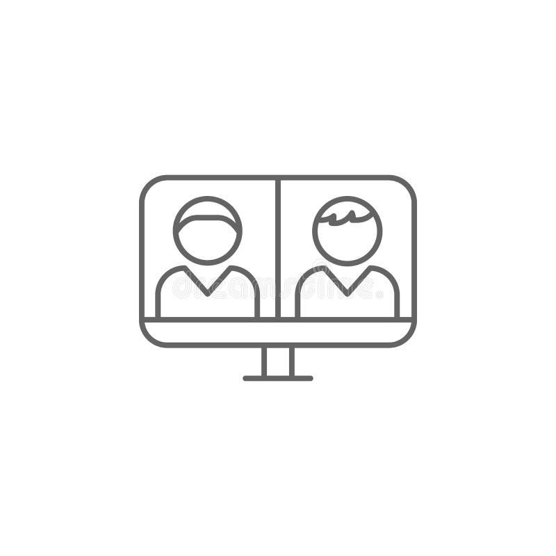 wideo laptopu przyjaźni konturu wywoławcza ikona Elementy przyjaźni linii ikona Znaki, symbole i wektory, mogą używać dla sieci,  ilustracja wektor