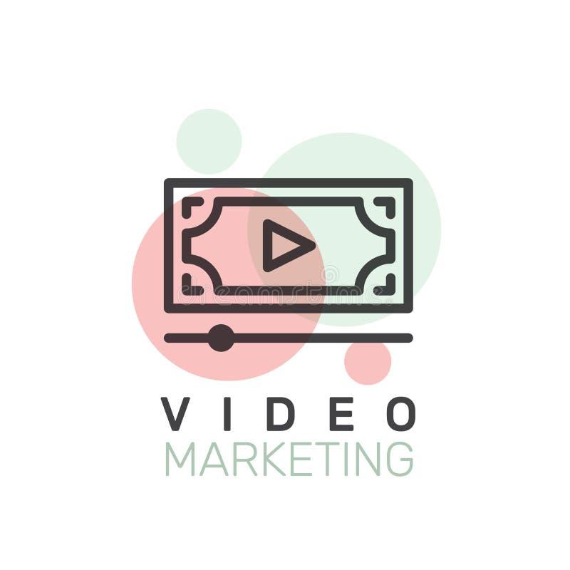 Wideo marketing, Internetowy email, Mobilni powiadomienia, oferta marketing lub Ogólnospołeczna kampania, ilustracja wektor