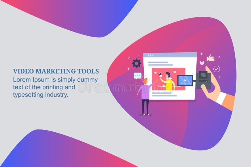 Wideo marketingowi narzędzia i wyposażenie, ręki mienia kamera wideo, użytkownika dopatrywania wideo zawartość ilustracja wektor