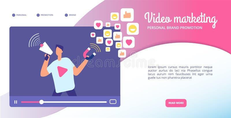 Wideo marketingowy pojęcie Reklama online, lejący się vlog i ruchu grafika Ogólnospołecznych środków sieci targowy wektorowy szta royalty ilustracja
