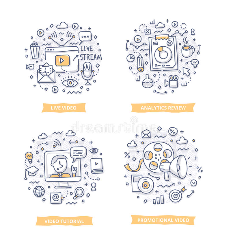 Wideo marketingu Doodle ilustracje ilustracja wektor