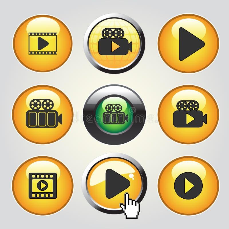 Wideo medialne ikony - guziki bawić się wideo, film royalty ilustracja