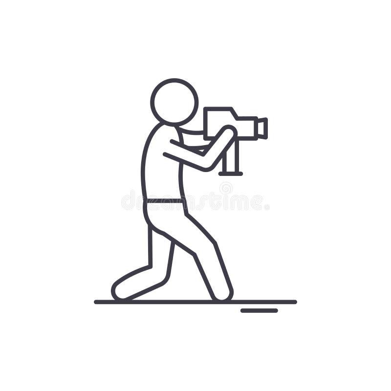 Wideo operator linii ikony pojęcie Wideo operatora wektorowa liniowa ilustracja, symbol, znak ilustracja wektor