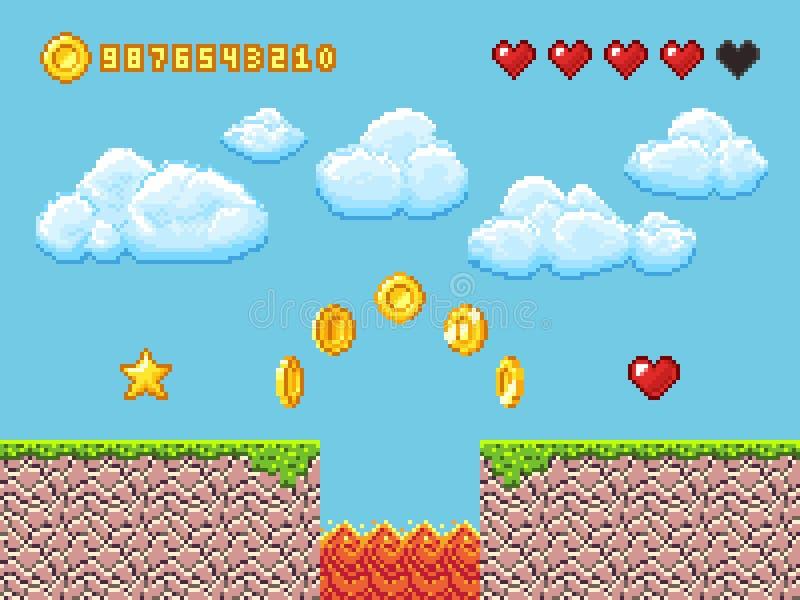 Wideo piksel gry krajobraz z złocistymi monetami, biel chmurami i czerwoną serce wektoru ilustracją, ilustracji