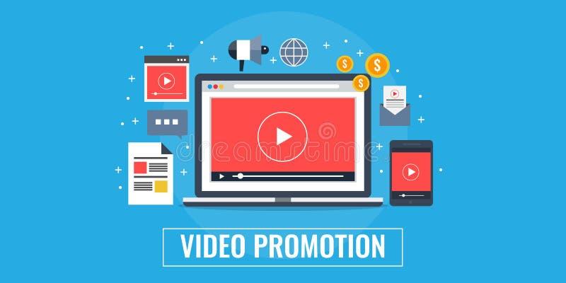 Wideo promocja, marketing, reklama, iść wirusowy pojęcie Płaskiego projekta marketingowy sztandar ilustracji