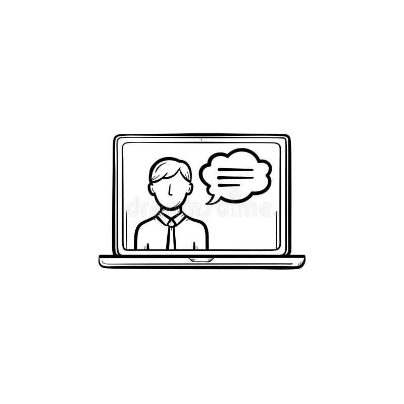 Wideo ręka rysująca gadki nakreślenia ikona ilustracja wektor