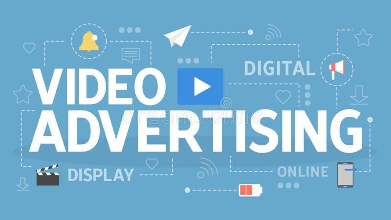 Wideo reklamowy pojęcie Reklamować i promocja online ilustracja wektor