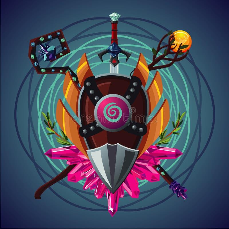 Wideo rola gemowego kreskówka emblemata z magiczny invenory Legendarne fantazj rzeczy Cybersport drużyny ręka również zwrócić cor royalty ilustracja