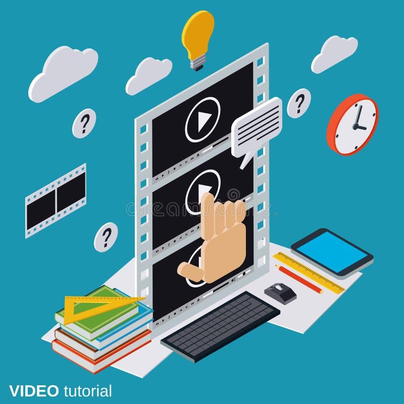 Wideo tutorial, nauczanie online, online edukacja, użytkownika przewdonika wektoru pojęcie royalty ilustracja
