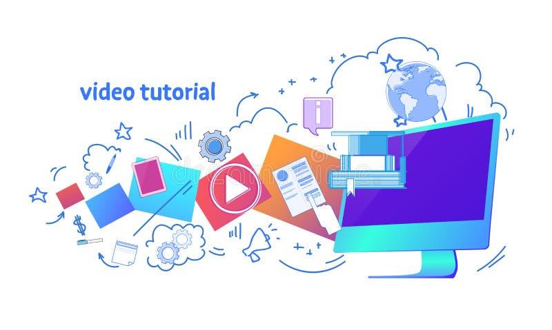 Wideo tutorial online horyzontalny sztandar odizolowywająca edukacja biznesu pojęcia szablonu sieci kopii przestrzeń royalty ilustracja