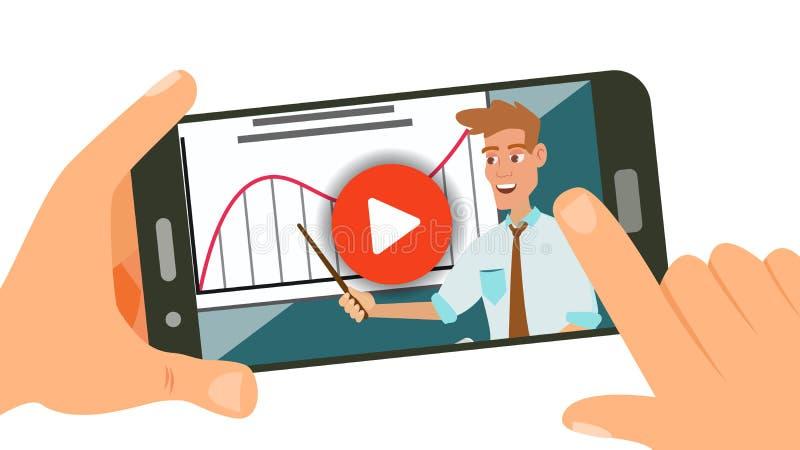 Wideo Tutorial wektor Lać się App Dystansowa edukacja Usługa internetowe Wisząca ozdoba Online gracz Mieszkanie Odizolowywający ilustracja wektor