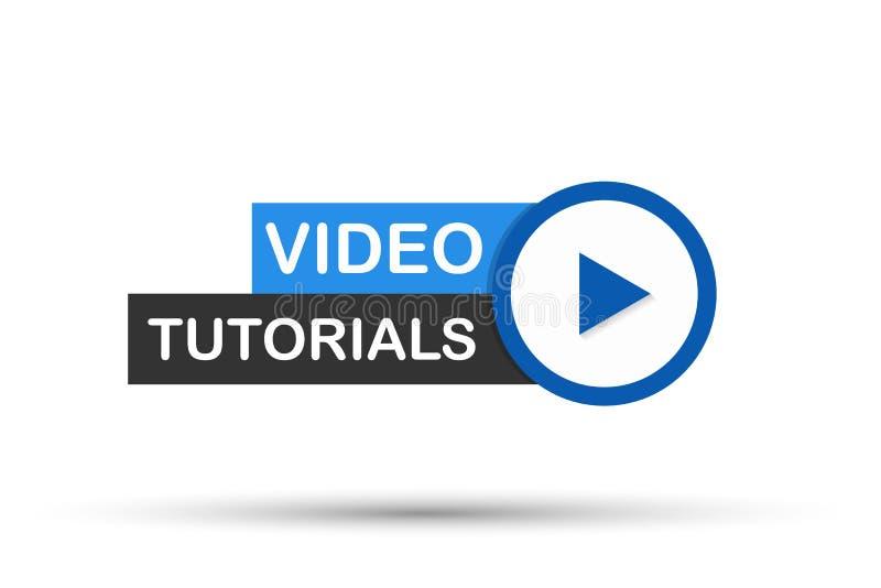 Wideo tutorials Zapinają, ikona, emblemat, etykietka również zwrócić corel ilustracji wektora royalty ilustracja