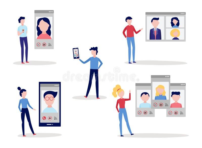 Wideo wezwania gadki konferencyjny ustawiający z mężczyzna i kobietami używa mówić z innymi ludźmi smartphone i komputer ilustracja wektor