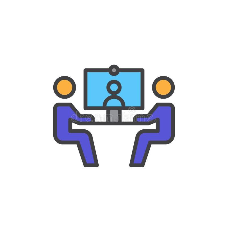 Wideokonferencja wypełniająca kontur ikona, kolorowy wektoru znak royalty ilustracja