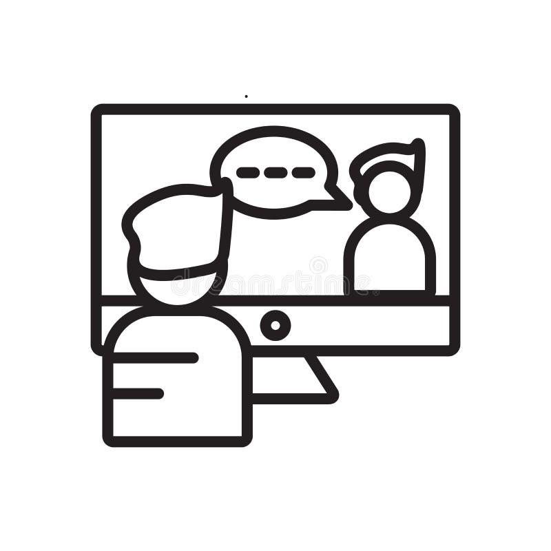 Wideokonferencji ikony wektor odizolowywający na białym tle, wideokonferencja znak ilustracji