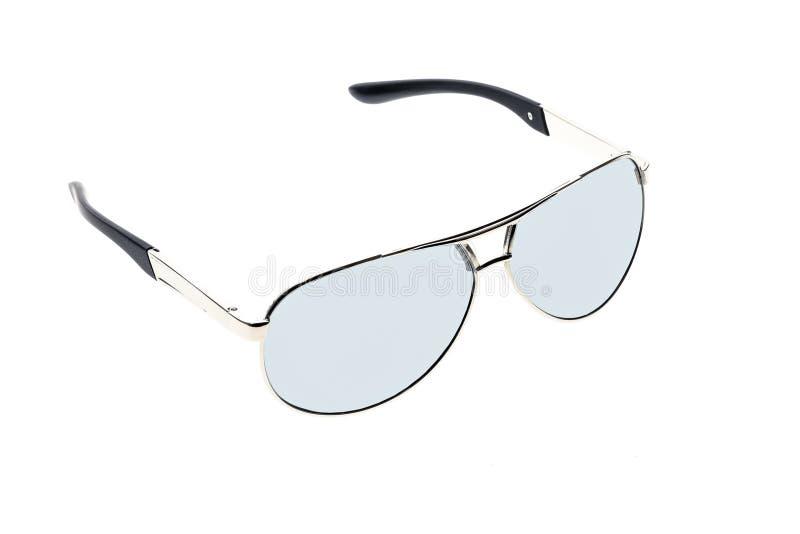 Widergespiegelte Fliegersilbersonnenbrille lokalisiert auf Weiß stockfotos