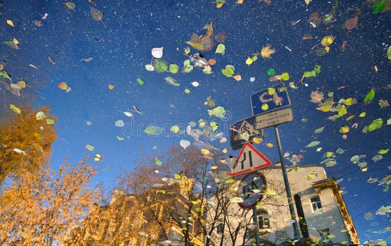 Widergespiegelte Straße Autumn Landscape stockfoto