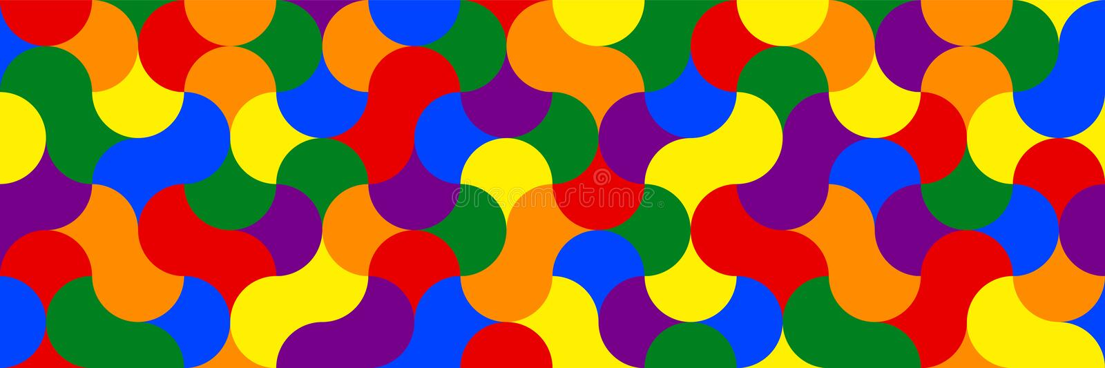 Widescreen geometric background in rainbow colors. stock illustration