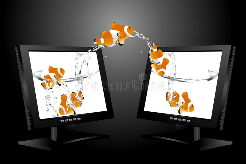 Widescreen lcd monitor royalty free illustration
