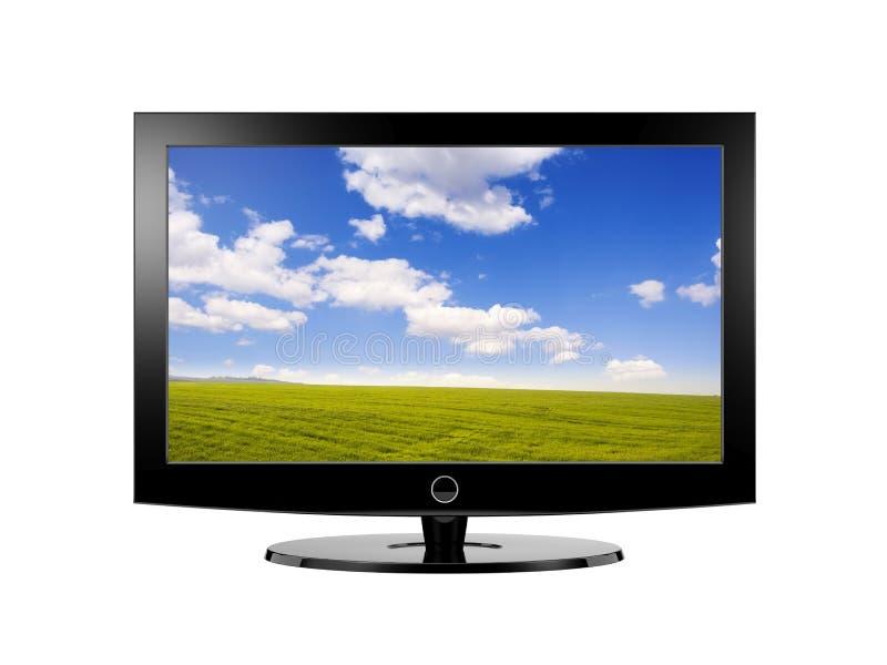 widescreen modern tv royaltyfri illustrationer