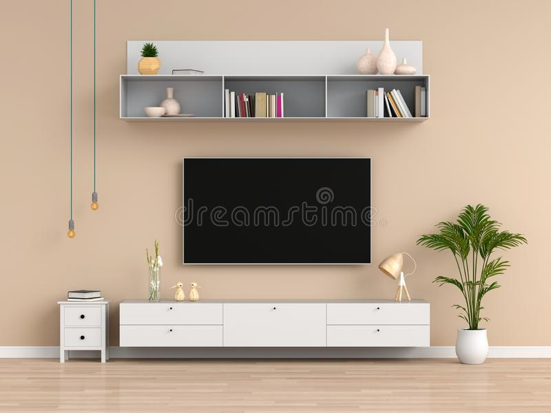 Widescreen TV and sideboard in living room, 3D rendering. Widescreen TV and sideboard in brown living room, 3D rendering stock illustration