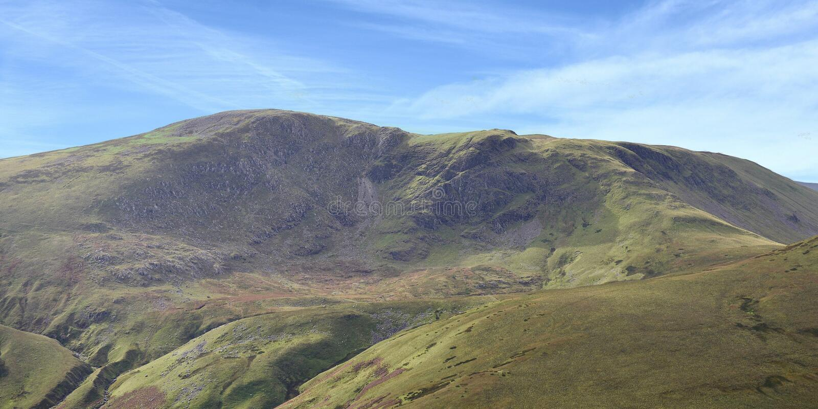 Looking to Great Borne area, Lake District. Widescreen view from Hen Comb looking to Great Borne way over rolling moraines royalty free stock photography