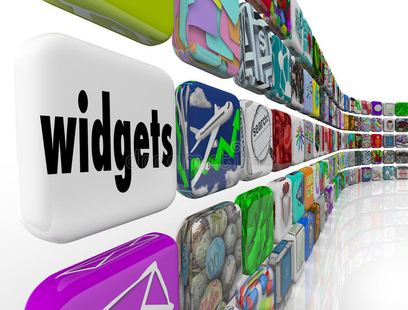 Widgets Applications Apps Software Programs Tile Icons. Widgets word on apps, applications, software or program tiles or icons as useful utilities for your stock illustration