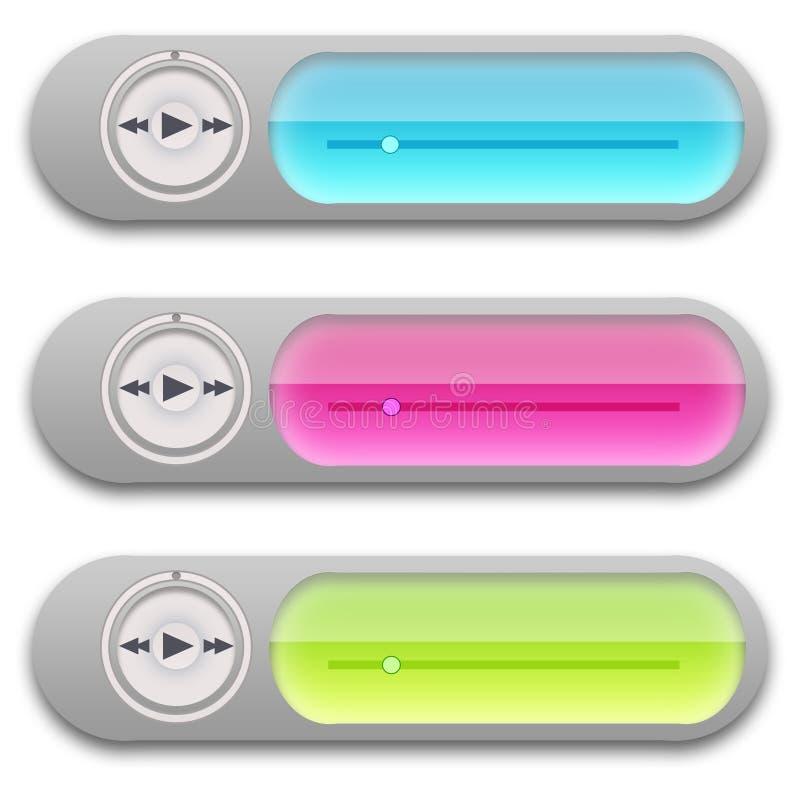 Widgets del giocatore di musica illustrazione di stock