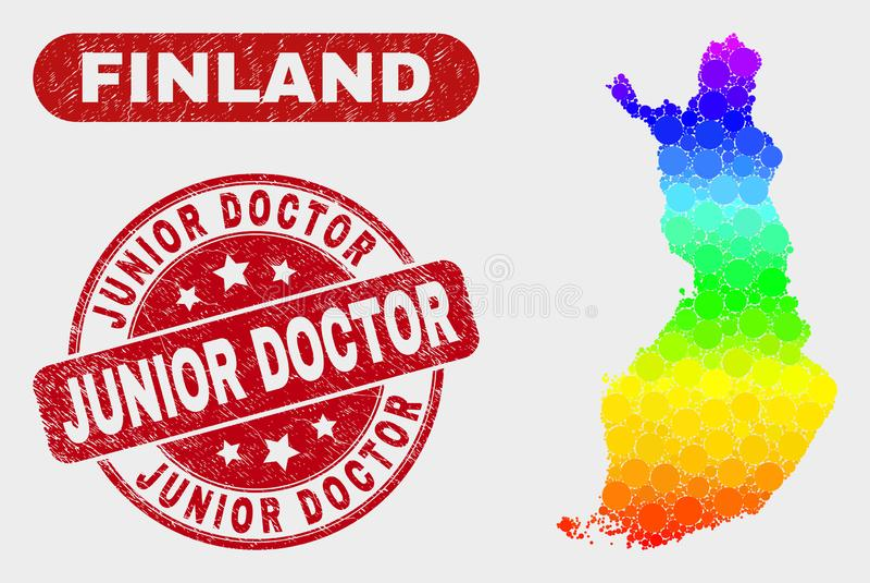 Widmo mozaiki Finlandia mapa i Porysowana junior lekarki foka royalty ilustracja