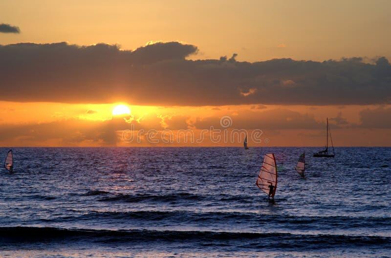 Widnsurfing al tramonto fotografie stock libere da diritti