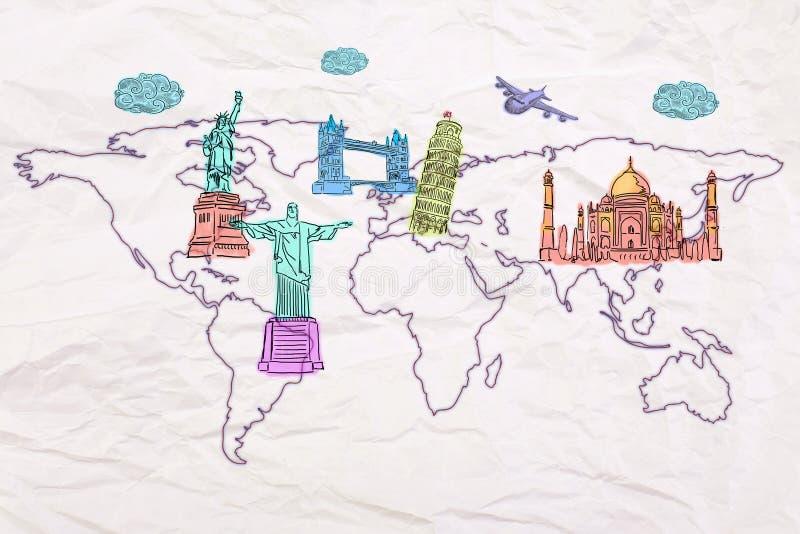 Widoków nakreślenia na mapie ilustracji