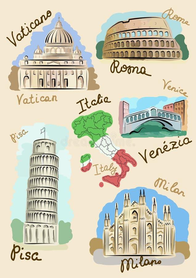 widoków włoscy watercolours royalty ilustracja