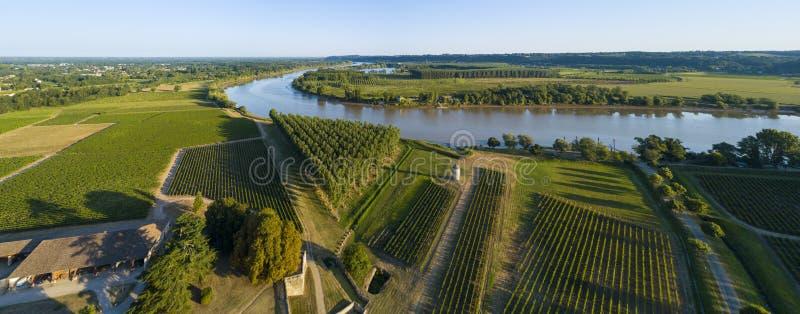 Widoków z lotu ptaka bordowie winnicy i Garonne rzeka fotografia stock