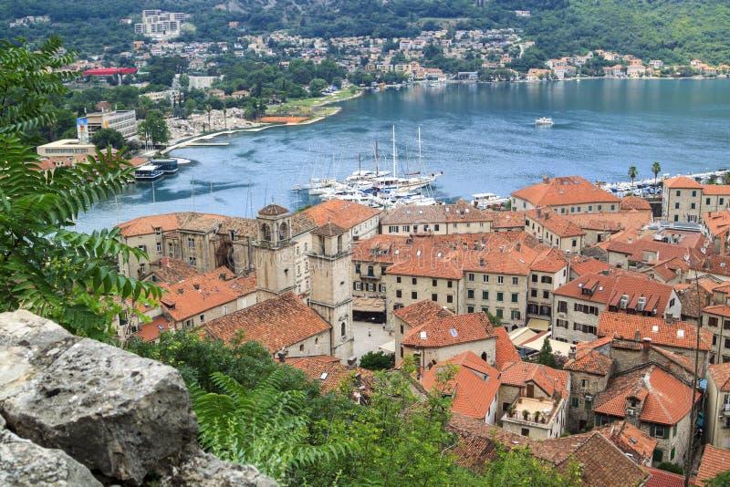 widok łodzie i jachty przy molem w zatoce Kotor, Monten obrazy royalty free
