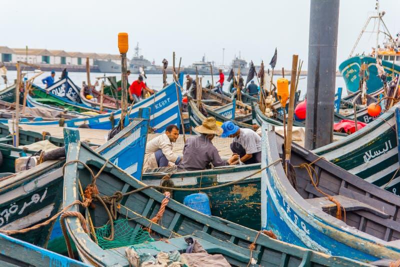 Widok łowić błękitne łodzie w Maroko porcie Agadir zdjęcie royalty free