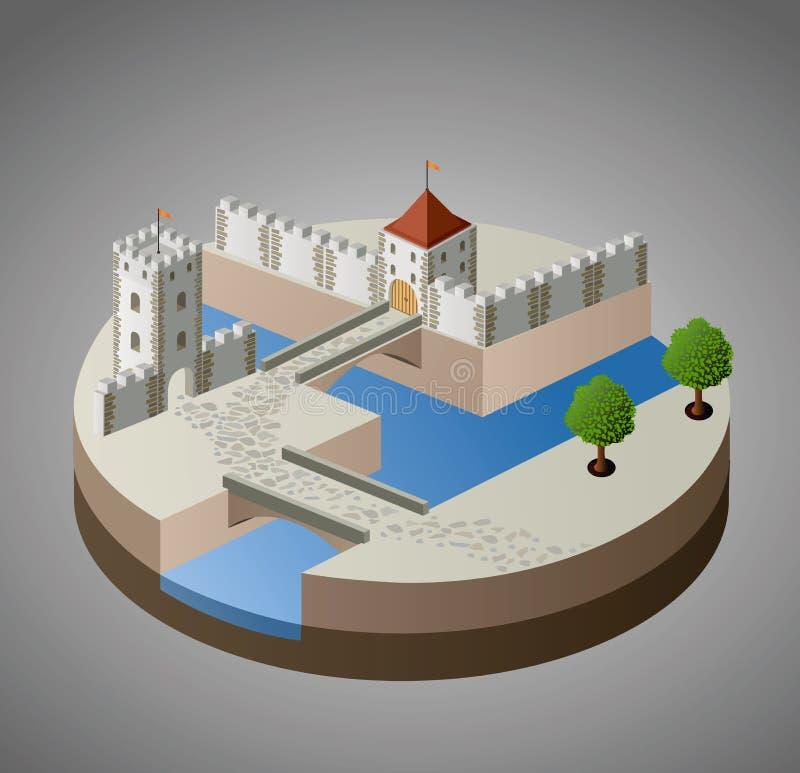 Widok średniowieczny kasztel royalty ilustracja