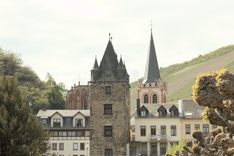 Widok średniowieczny miasteczko Bacharach Niemcy zdjęcie royalty free