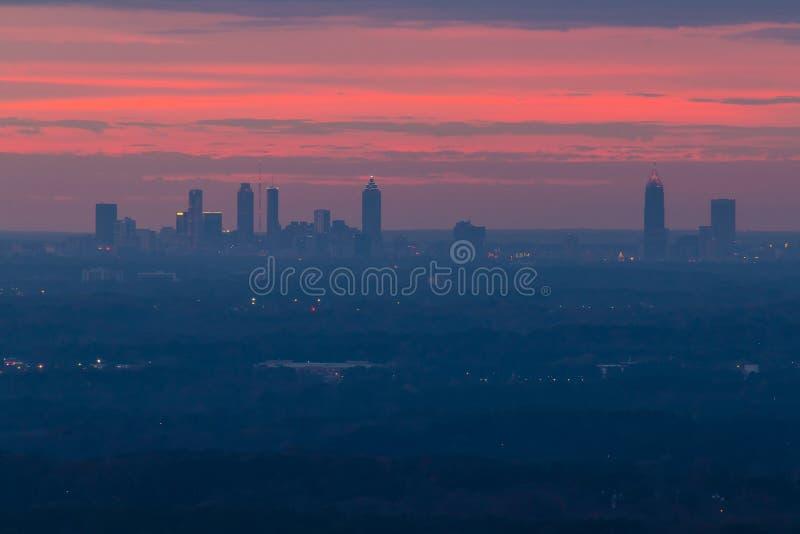 Widok środka miasta Atlanta fron kamienia góra, Gruzja, usa obraz stock