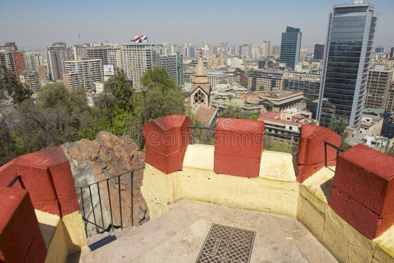 Widok środkowa część Santiago miasto od Santa Lucia wzgórza fortecy w Santiago, Chile zdjęcia stock