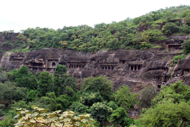 Widok Ajanta zawala się ciący Buddyjscy zabytki obraz royalty free