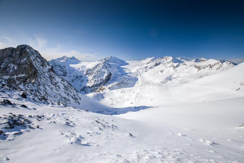 Widok Alps od Presena lodowa, Tonale, Włochy obraz stock