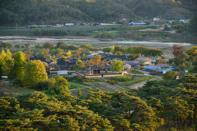 Widok Andong Hahoe ludu wioska zdjęcia stock