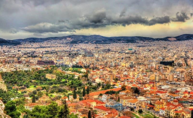 Widok Antyczna agora Ateny obrazy royalty free