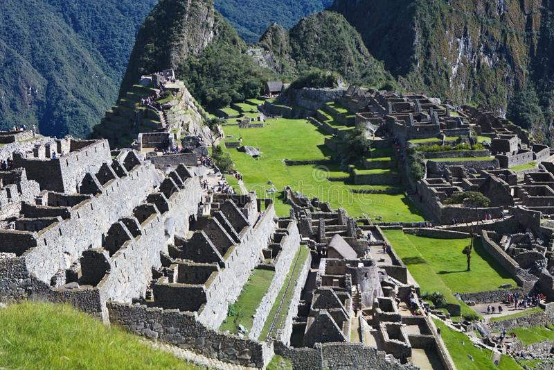 Widok antyczny inka miasto Mach Picchu, Peru zdjęcie stock
