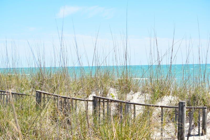 Widok Aqua Błękitny ocean od Plażowej diuny obraz royalty free