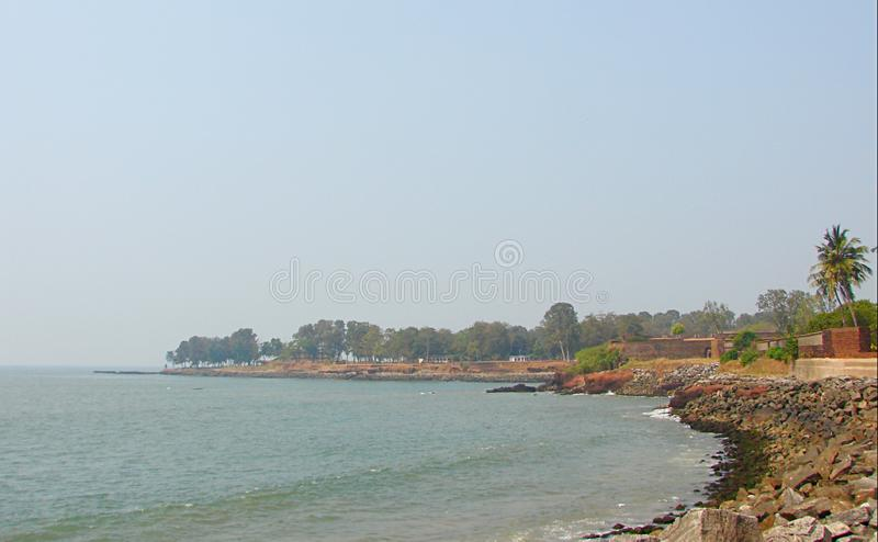 Widok Arabski morze od St Angelo ` s fortu, Kannur, Kerala, India fotografia royalty free